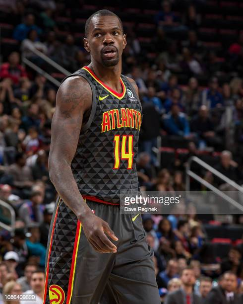 Dewayne Dedmon of the Atlanta Hawks looks down court against the Detroit Pistons in the second half during an NBA game at Little Caesars Arena on...