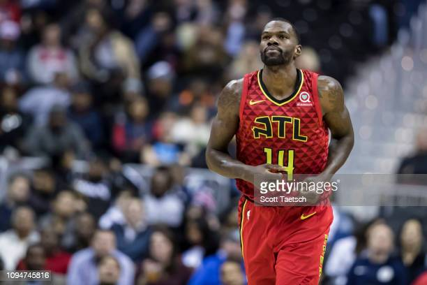 Dewayne Dedmon of the Atlanta Hawks looks on against the Washington Wizards during the first half at Capital One Arena on February 4 2019 in...
