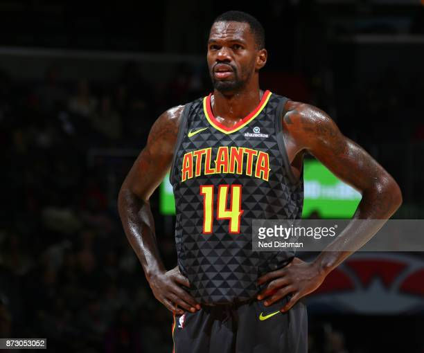 Dewayne Dedmon of the Atlanta Hawks looks on during the game against the Washington Wizards on November 11 2017 at Capital One Arena in Washington DC...