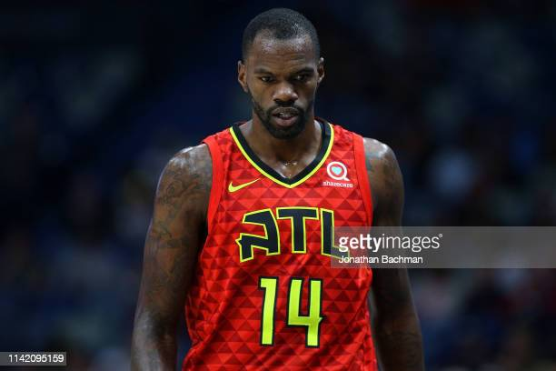 Dewayne Dedmon of the Atlanta Hawks reacts during a game against the New Orleans Pelicans at the Smoothie King Center on March 26 2019 in New Orleans...