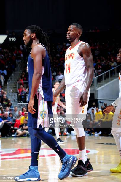Dewayne Dedmon of the Atlanta Hawks reacts during the game against the Denver Nuggets on October 27 2017 at Philips Arena in Atlanta Georgia NOTE TO...