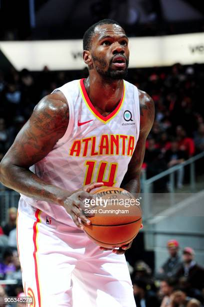 Dewayne Dedmon of the Atlanta Hawks shoots a free throw during the game against the San Antonio Spurs on January 15 2018 at Philips Arena in Atlanta...