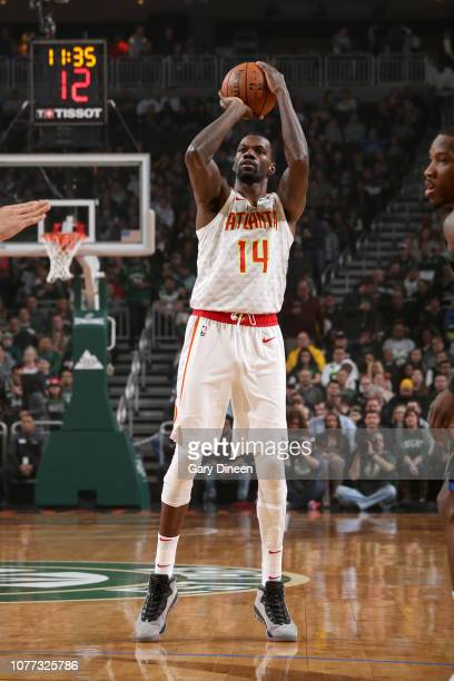 Dewayne Dedmon of the Atlanta Hawks shoots the ball against the Milwaukee Bucks on January 4 2019 at the Fiserv Forum in Milwaukee Wisconsin NOTE TO...