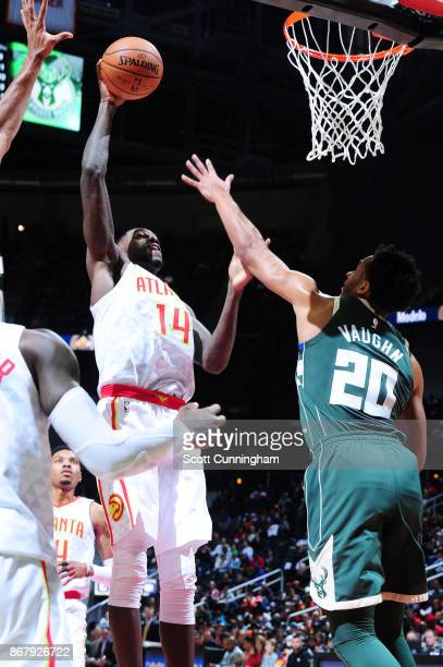 Dewayne Dedmon of the Atlanta Hawks shoots the ball against the Milwaukee Bucks on October 29 2017 at Philips Arena in Atlanta Georgia NOTE TO USER...