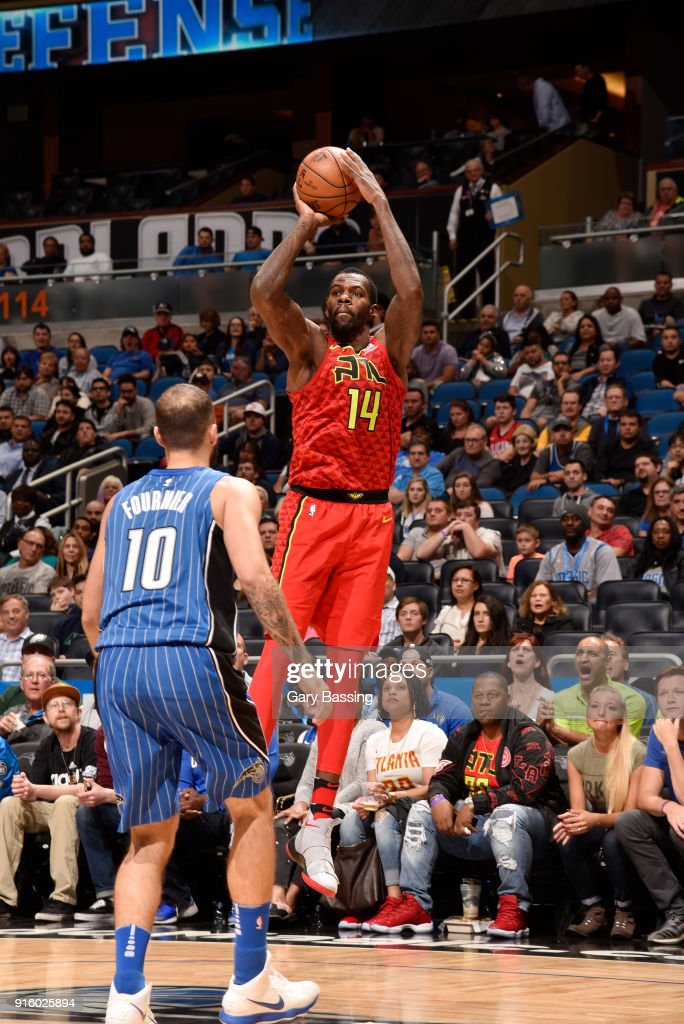 Dewayne Dedmon #14 of the Atlanta Hawks shoots the ball against the Orlando Magic on February 8, 2018 at the Amway Center in Orlando, Florida.