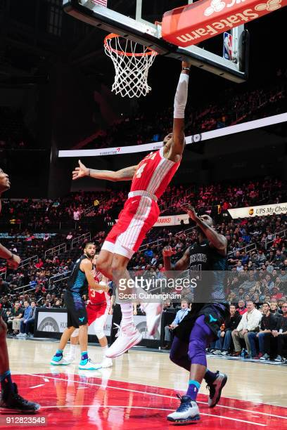 Dewayne Dedmon of the Atlanta Hawks shoots the ball during the game against the Charlotte Hornets on January 31 2018 at Philips Arena in Atlanta...