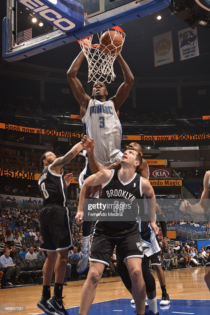 Dewayne Dedmon #3 of the Orlando Magic dunks the ball against the Brooklyn Nets during the game on April 9, 2014 at Amway Center in Orlando, Florida.