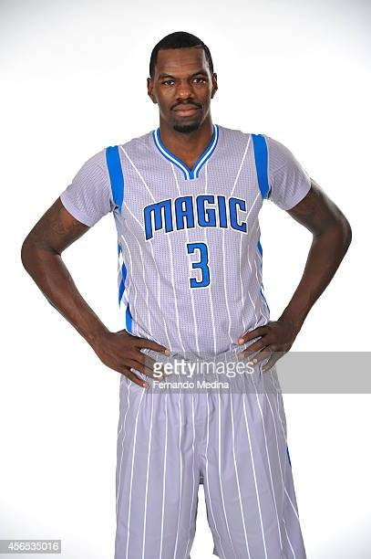 Dewayne Dedmon of the Orlando Magic poses for a portrait at Orlando Magic Media Day on September 29 2014 at Amway Center in Orlando Florida NOTE TO...