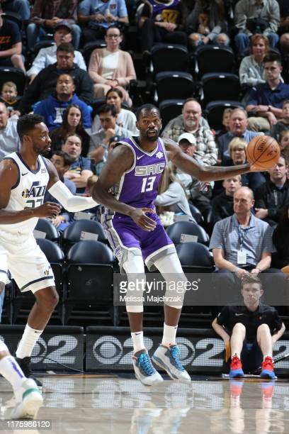 Dewayne Dedmon of the Sacramento Kings handles the ball against the Utah Jazz on October 14 2019 at vivintSmartHome Arena in Salt Lake City Utah NOTE...