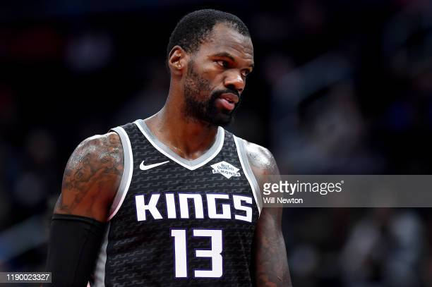 Dewayne Dedmon of the Sacramento Kings looks on against the Washington Wizards during the first half at Capital One Arena on November 24 2019 in...