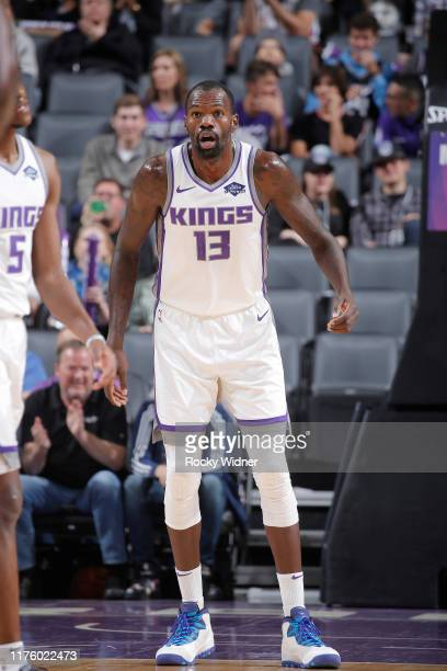 Dewayne Dedmon of the Sacramento Kings looks on during the game against the Phoenix Suns on October 10 2019 at Golden 1 Center in Sacramento...
