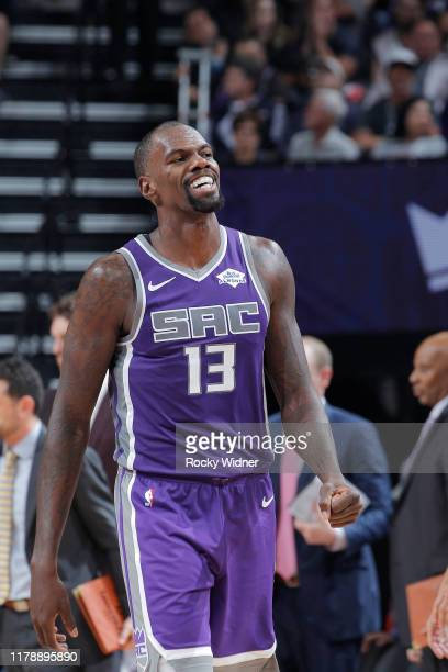 Dewayne Dedmon of the Sacramento Kings looks on during the game against the Portland Trail Blazers on October 25 2019 at Golden 1 Center in...