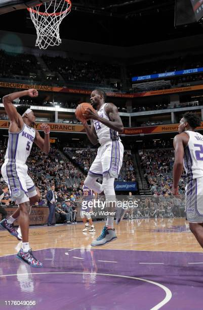 Dewayne Dedmon of the Sacramento Kings rebounds against the Phoenix Suns on October 10 2019 at Golden 1 Center in Sacramento California NOTE TO USER...