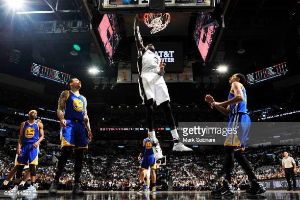 Dewayne Dedmon of the San Antonio Spurs dunks against the Golden State Warriors in Game Three of the Western Conference Finals of the 2017 NBA...