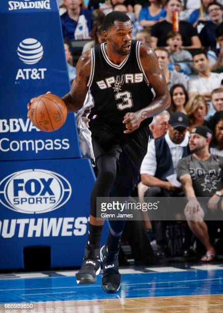 Dewayne Dedmon of the San Antonio Spurs handles the ball against the Dallas Mavericks during the game on April 7 2017 at the American Airlines Center...