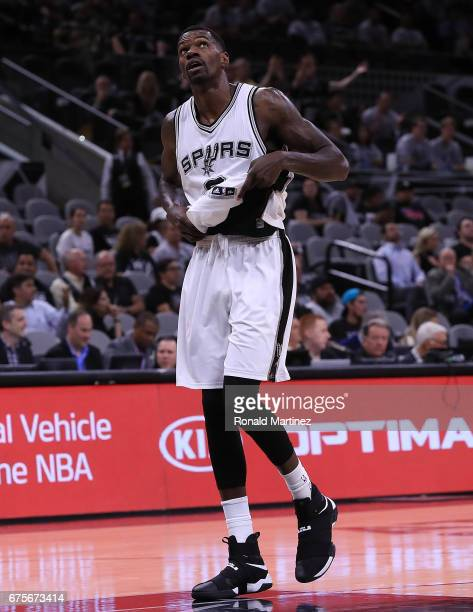 Dewayne Dedmon of the San Antonio Spurs leaves the court after being ejected during Game One of the NBA Western Conference SemiFinals against the...