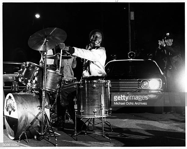 """DeWayne Jessie as Floyd demonstrates his prowess on the drums in a scene from the movie """"Thank God It's Friday"""", circa 1978."""