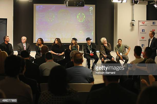Dewayne Jones Ray Chambers Marie Da Silva Ricki Lake Megan Nicole Wesley Stromberg Sammy Wilkinson and Melvin Gregg speak onstage at the launch of...