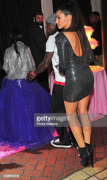 Dewayne Lil Wayne Carter and Dhea Sodano Leave Reginae Carter's 13th Birthday party at The Callanwolde Mansion on November 19 2011 in Atlanta Georgia