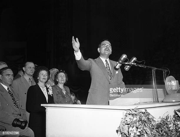 Dewey Accepts Nomination Philadelphia Gov Thomas E Dewey thanks the delegates in Convention Hall for 'the highest honor' they can bestow the...