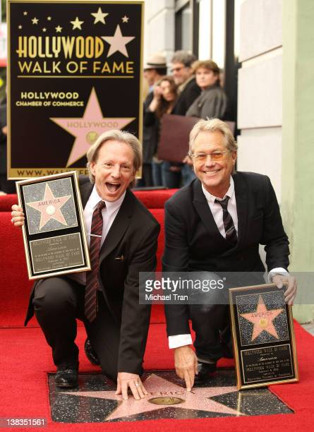 Dewey Bunnell and Gerry Beckley of America attends the ceremony honoring them with a Star on The Hollywood Walk of Fame held on February 6 2012 in...