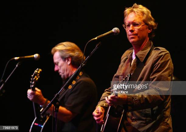 Dewey Bunnell and Gerry Beckley of band America perform on stage in concert at the Burswood Theatre on April 20, 2007 in Perth, Australia. The folk...