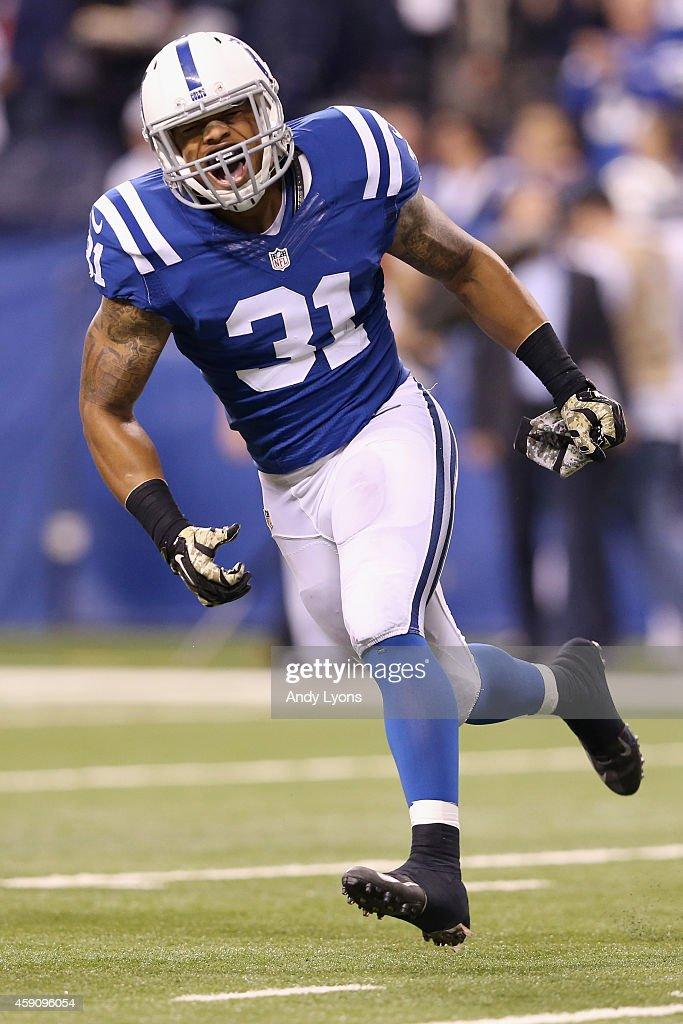 Dewey McDonald #31 of the Indianapolis Colts celebrates a tackle against the New England Patriots during the second quarter of the game at Lucas Oil Stadium on November 16, 2014 in Indianapolis, Indiana.