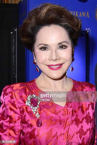 Dewi Sukarno attends the Nobuku Ishikawa Jewellery Exhibition Cocktail at Le Meurice as part of Paris Fashion Week on January 27 2016 in Paris France