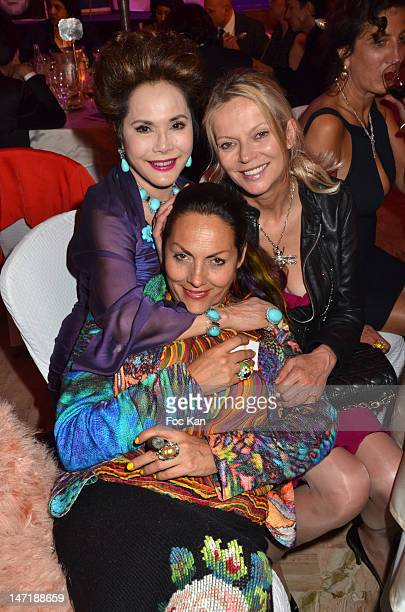 Dewi Sukarno Hermine de Clermont Tonnerre andHelene de Yougoslavie attend the Chateau de Saint Cloud Gala Auction Dinner at the Salons Hoche on June...