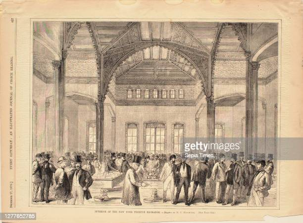 Dewitt C. Hitchcock, American, c. 1818–1879, Interior of the New York Produce Exchange, From Every Saturday Wood engraving on paper, image: 9 1/8 x...