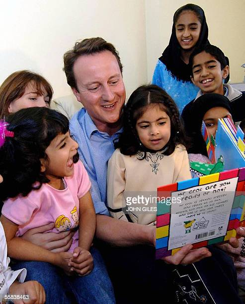 David Cameron arrives at a reading class in Dewsbury 02 October 2005 and suggested he was the only Tory leadership candidate who could be trusted to...