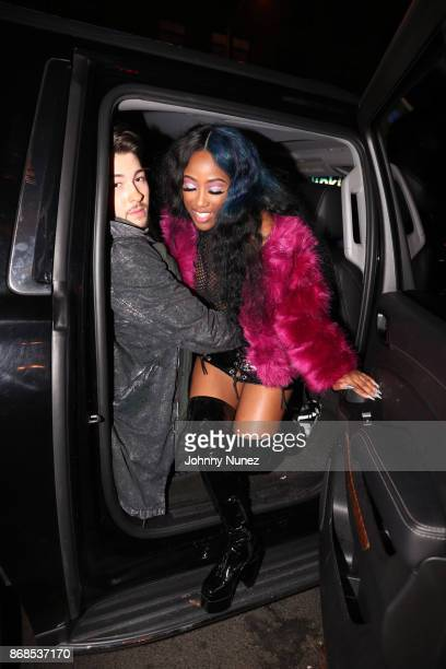 Dex Lauper and Bri Taylor attend the 'Love and Hip Hop' Viewing Masquerade Party at Hayaty NYC on October 30 2017 in New York City
