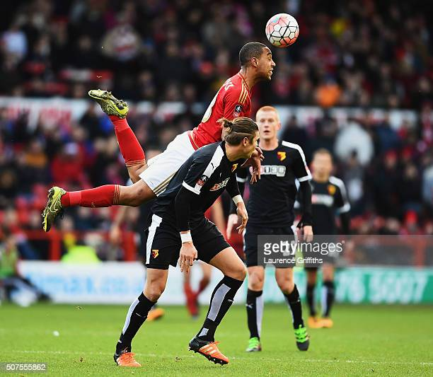 Dexter Blackstock of Nottingham Forest and Sebastian Prodl of Watford compete for the ball during The Emirates FA Cup fourth round between Nottingham...
