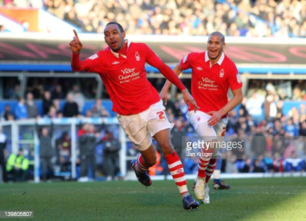 Dexter Blackstock of Nottingham Forest celebrates his second goal during the npower Championship match between Birmingham City and Nottingham Forest...