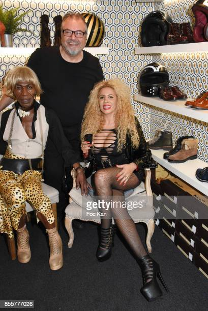 Dexter Dex Tao, Henry Achkoyan and Afida Turner attend the Henry Achkoyan Shop Opening on September 29, 2017 in Paris, France.
