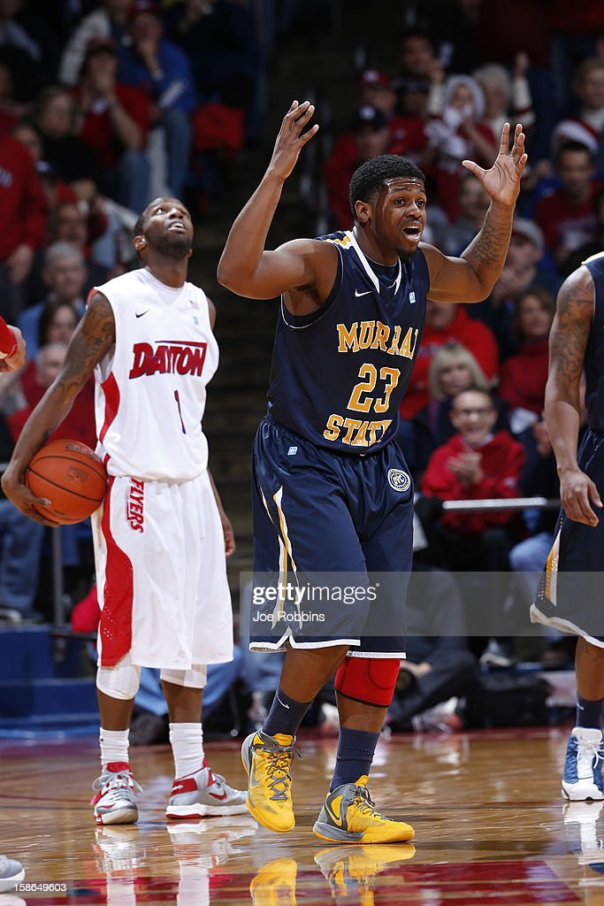 Dexter Fields #23 of the Murray State Racers reacts after being called for a foul against Kevin Dillard #1 of the Dayton Flyers during the game at University of Dayton Arena on December 22, 2012 in Dayton, Ohio. The Flyers won 77-68.