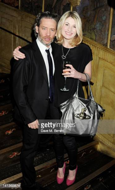 Dexter Fletcher and Jodie Whittaker attend a private screening of Dexter Fletcher's directorial debut 'Wild Bill' hosted by chef Jamie Oliver at The...