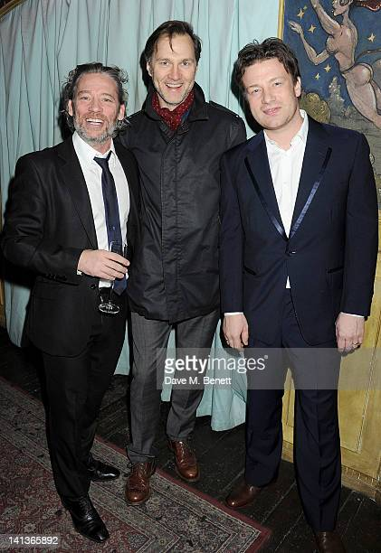Dexter Fletcher, David Morrissey and Jamie Oliver attend a private screening of Dexter Fletcher's directorial debut 'Wild Bill' hosted by chef Jamie...