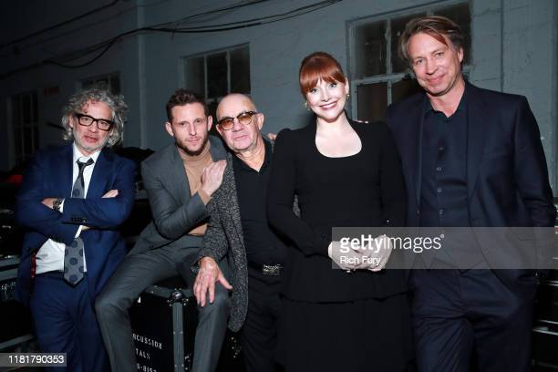 Dexter Fletcher, Jamie Bell, Bernie Taupin, Bryce Dallas Howard, and Giles Martin attend Rocketman: Live in Concert at the Greek Theatre in Los...