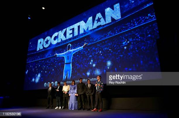 Dexter Fletcher Matthew Vaughn David Furnish Bryce Dallas Howard Richard Madden Jamie Bell Taron Egerton appear on stage during the US Premiere of...