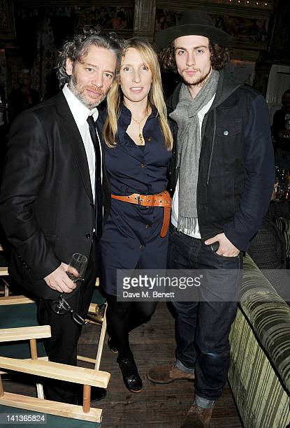 Dexter Fletcher, Sam Taylor-Wood and Aaron Johnson attend a private screening of Dexter Fletcher's directorial debut 'Wild Bill' hosted by chef Jamie...