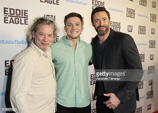 Dexter Fletcher Taron Egerton and Hugh Jackman are seen arriving at the premiere of the film Eddie the Eagle at Regal South Beach on February 17 2016...