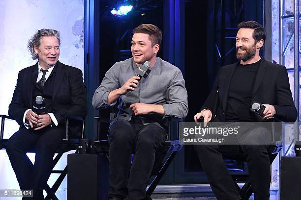 Dexter Fletcher Taron Egerton and Hugh Jackman attend the AOL Build Speaker Series to discuss Eddie the Eagle at AOL Studios In New York on February...