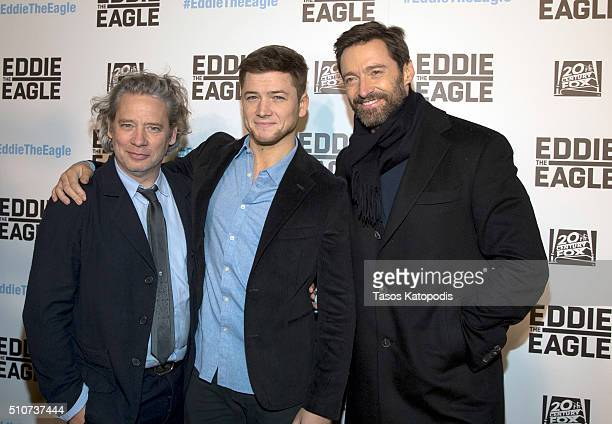 Dexter Fletcher Taron Egerton and Hugh Jackman attends the Eddie the Eagle screening at Kerasotes Showplace ICON on February 16 2016 in Chicago...