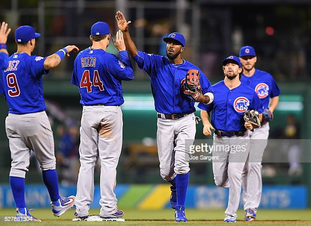 Dexter Fowler celebrates with Anthony Rizzo of the Chicago Cubs after a 71 win over the Pittsburgh Pirates on May 3 2016 at PNC Park in Pittsburgh...