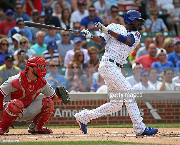 Dexter Fowler of the Chicago Cubs bats against the Philadelphia Phillies at Wrigley Field on July 24 2015 in Chicago Illinois The Phillies defeated...