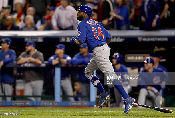 Dexter Fowler of the Chicago Cubs hits a lead off home run in the first inning against the Cleveland Indians in Game Seven of the 2016 World Series...