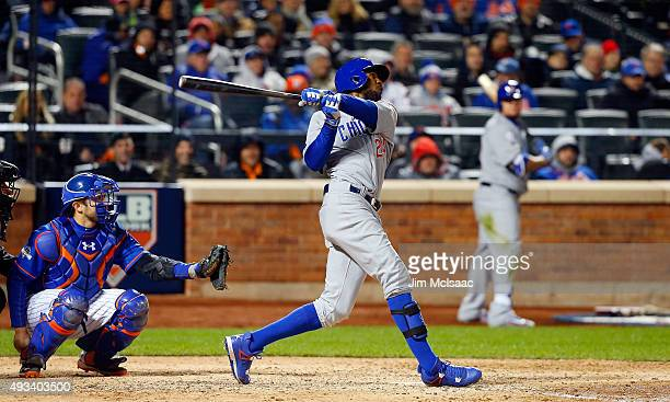 Dexter Fowler of the Chicago Cubs in action against the New York Mets during game one of the 2015 MLB National League Championship Series at Citi...