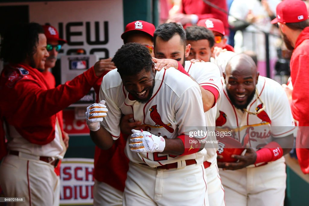 Dexter Fowler #25 of the St. Louis Cardinals celebrates after hitting a home run against the Cincinnati Reds in the fifth inning at Busch Stadium on April 21, 2018 in St. Louis, Missouri.