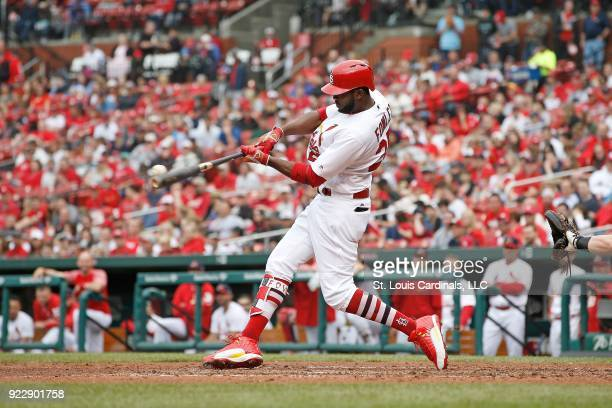 Dexter Fowler of the St Louis Cardinals gets a hit during a game against the Cincinnati Reds on April 30 2017 at Busch Stadium in St Louis Missouri